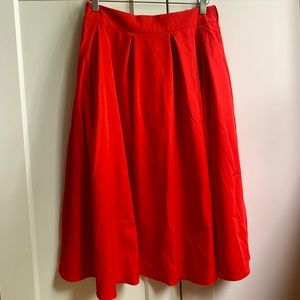 Red A-Line Skirt with Pleats and Pockets